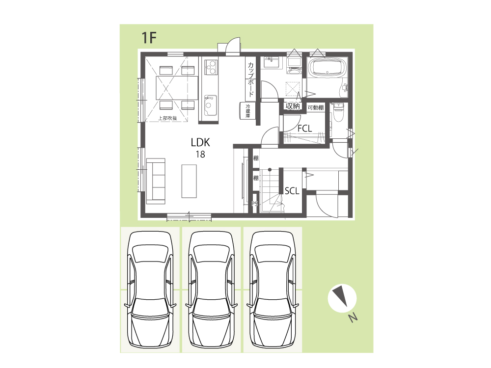 家族だけの屋上のある家 間取り図